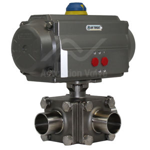 3-Way Hygienic Air Actuated Water Valves 316L Stainless Steel Material